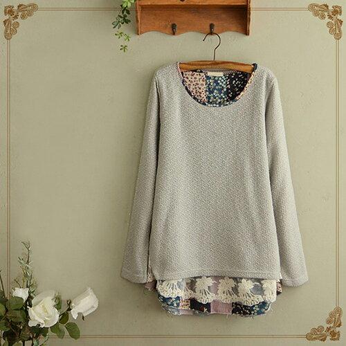 日系森系碎花蕾絲裙擺拼接針織衫 (2色,M~4XL) - ORead 自由風格 2