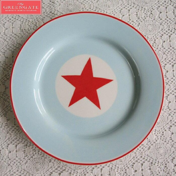 【預購】GreenGate  餐盤 / 點心盤   20.5cm  美式風格~藍底配紅五角星 - 限時優惠好康折扣