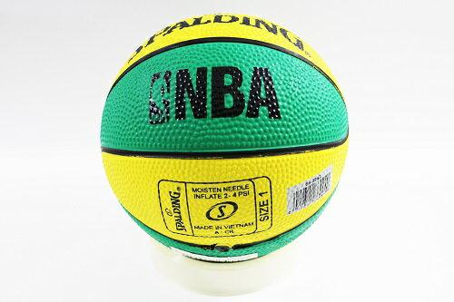 [陽光樂活] SPALDING 斯伯丁 NBA NO.1 迷你小籃球 橡膠 黃x綠 #1 SPA66994