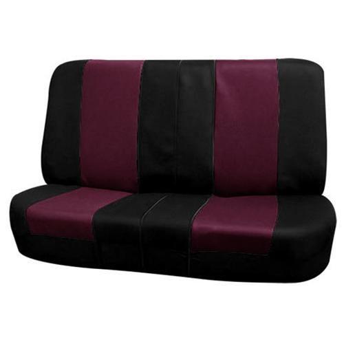 FH-FB050115 Flat Cloth Car Seat Covers Burgundy / Black 2