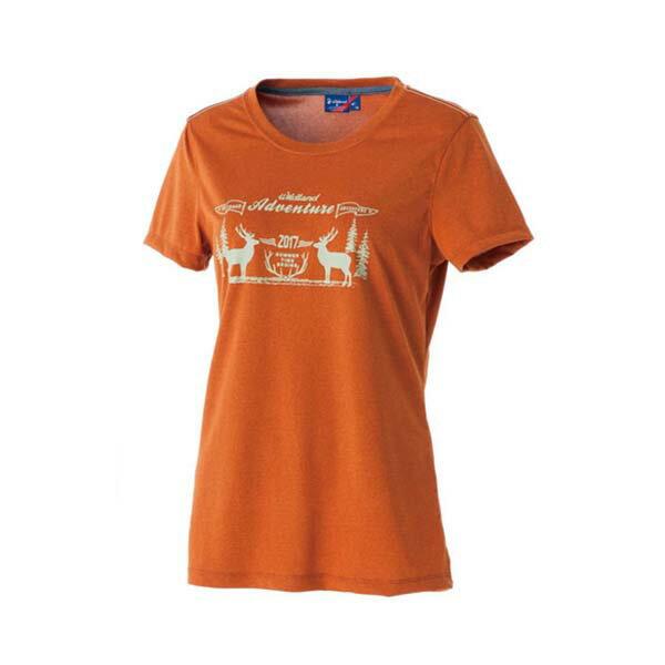 《台南悠活運動家》WILDLAND51693女RE印花時尚抗UV圓領上衣棕