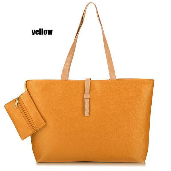 Synthetic Leather Solid Shoulder Tote Bag Handbag 4