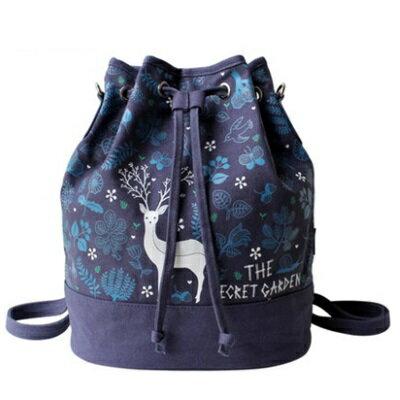 後背包帆布雙肩包-時尚清新小鹿印花水桶女包包73sr15【獨家進口】【米蘭精品】