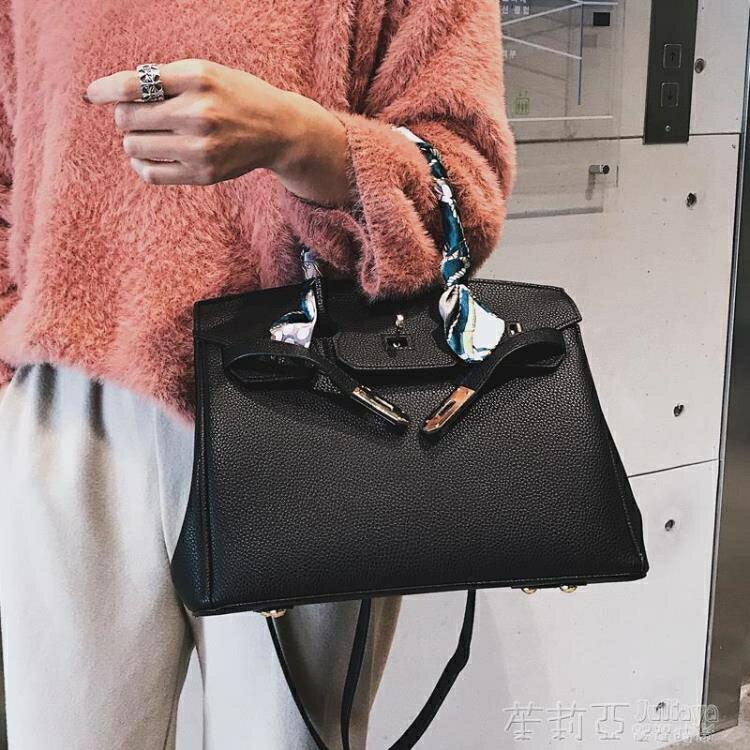 手提包 荔枝紋鉑金鎖扣女包包歐美經典凱莉單肩斜挎包手提包大包