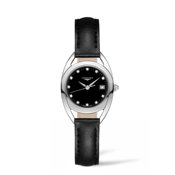 LONGINES L61364570騎士系列時尚真鑽腕錶/黑面26mm
