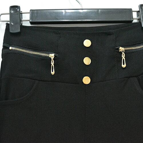長褲 - 高腰顯瘦雙側拉鍊3釦彈力鉛筆褲 小腳褲 《黑 / 白》現貨【23286】藍色巴黎 2