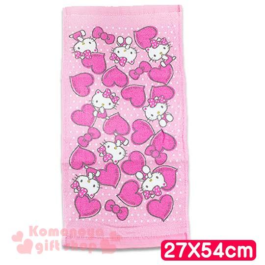 〔小禮堂〕Hello Kitty 學童長毛巾《S.粉.坐姿.咬手指.愛心.點點.27x54cm》