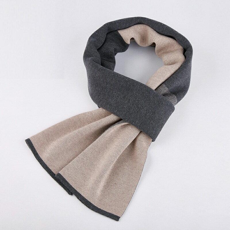 圍巾針織披肩-羊毛簡約拼色提花男配件3色73wi75【獨家進口】【米蘭精品】