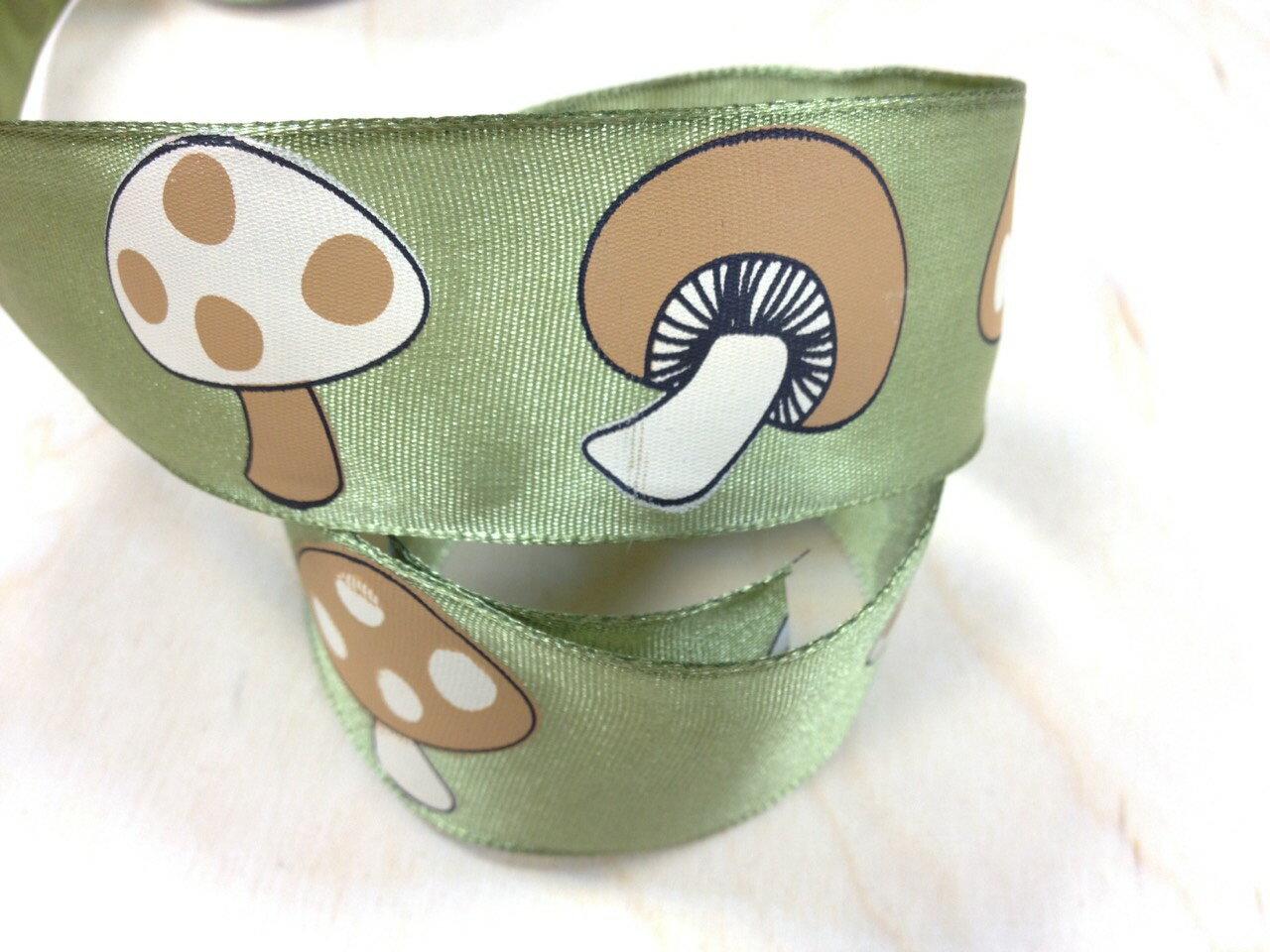 平織緞帶-香菇+鐵絲 38mm 3碼裝(2色) 1