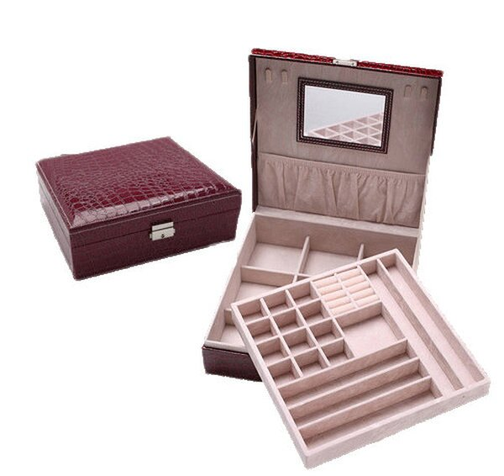 BOBI:飾品盒雙層鱷魚紋鏡面絨布方形飾品盒首飾盒【DSP01104】BOBI0118