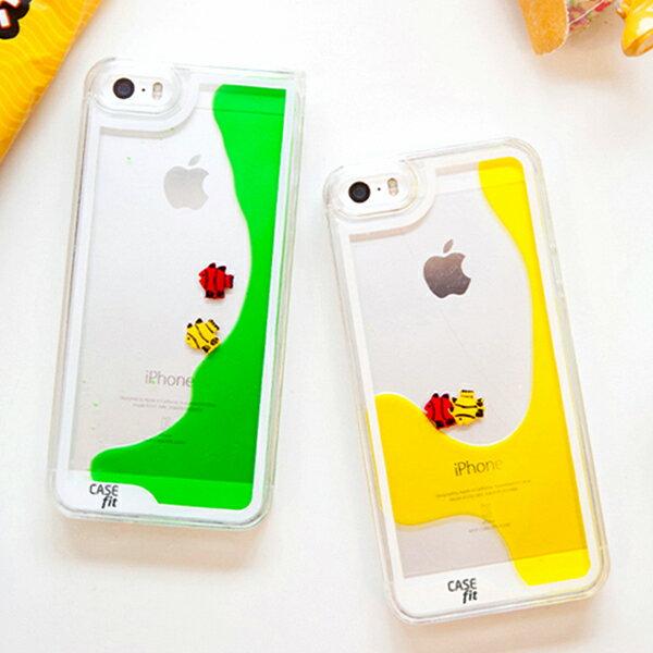 蘋果iPhone5 / 5S 保護套 SL005可愛游泳小魚手機殼 液體流沙手機外殼 透明保護殼【預購】 3