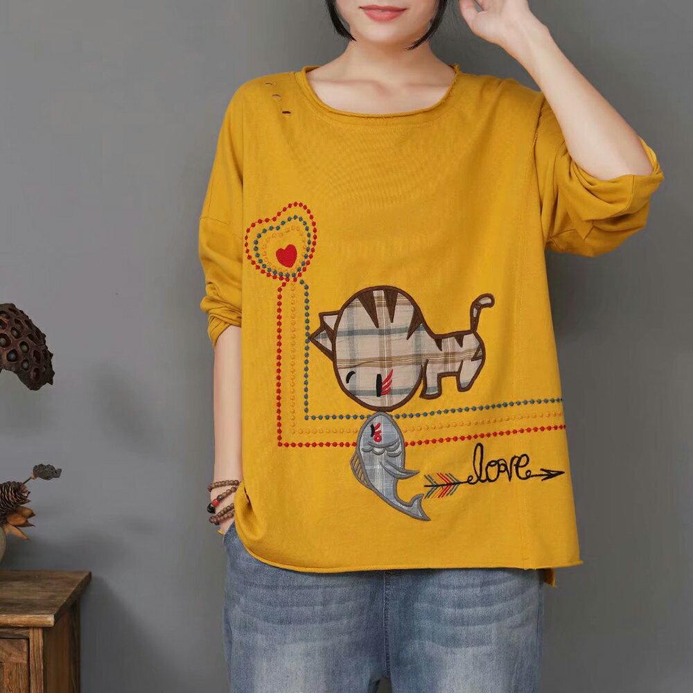 日系刺繡剪破圓領套頭長袖T恤上衣(4色F碼)*ORead* 3