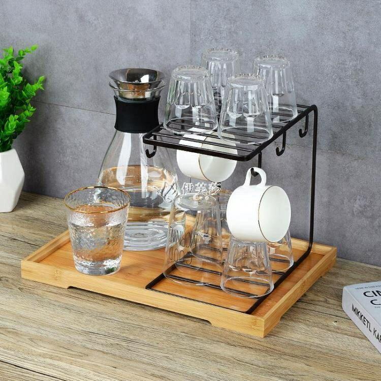 創意家用瀝水玻璃杯水杯掛架咖啡杯馬克杯子架收納杯架托盤置物架 芭蕾朵朵