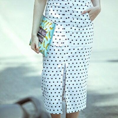 長裙棉質半身裙子 ~簡潔大方可愛點點女裙裝73hv24~ ~~米蘭 ~