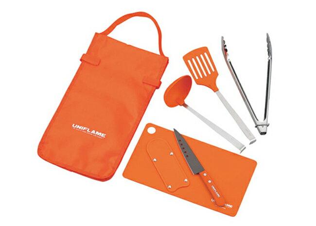 【【蘋果戶外】】UNIFLAME U662120 調理刀夾組-橘 料理夾 湯杓 鍋鏟 砧板 主廚刀具 日本製造