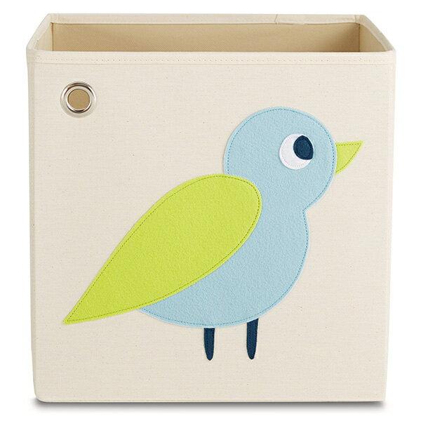 美國kaikai&ash玩具收納箱-森林小鳥摺疊收納箱玩具收納箱整理箱設計風棉麻不織布