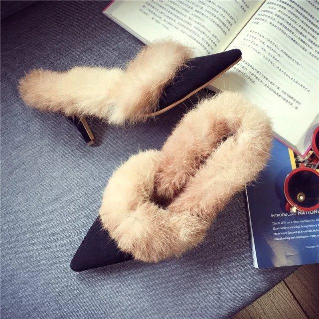 2017新款時尚尖頭淺口中低跟兔毛女鞋韓版保暖毛毛鞋子細跟唯美性感優雅氣質女鞋