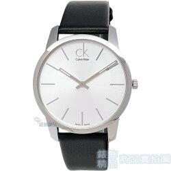 【錶飾精品】CK 手錶 K2G211C6 Calvin Klein 經典時尚 都會型男 銀白面黑皮帶 男錶