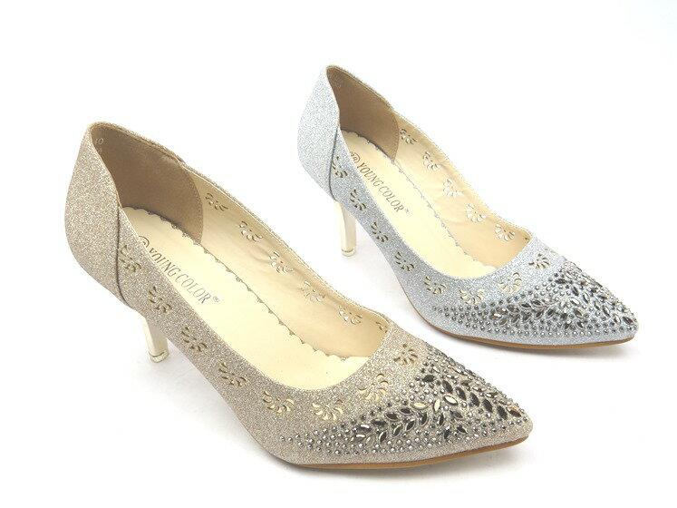 *高跟鞋* 日系甜美水鑽尖頭高跟包鞋21-A868.1(金/銀)☆【彩虹屋】☆現+預