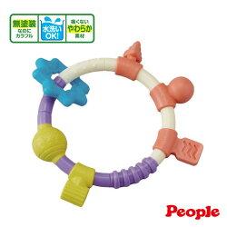 【奇買親子購物網】日本People 環狀手搖鈴咬舔玩具