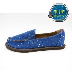 ALMANDO-SHOES ●雪花點點輕量記憶墊帆布鞋● 台灣精品/ 超輕量透氣帆布鞋(藍點點)