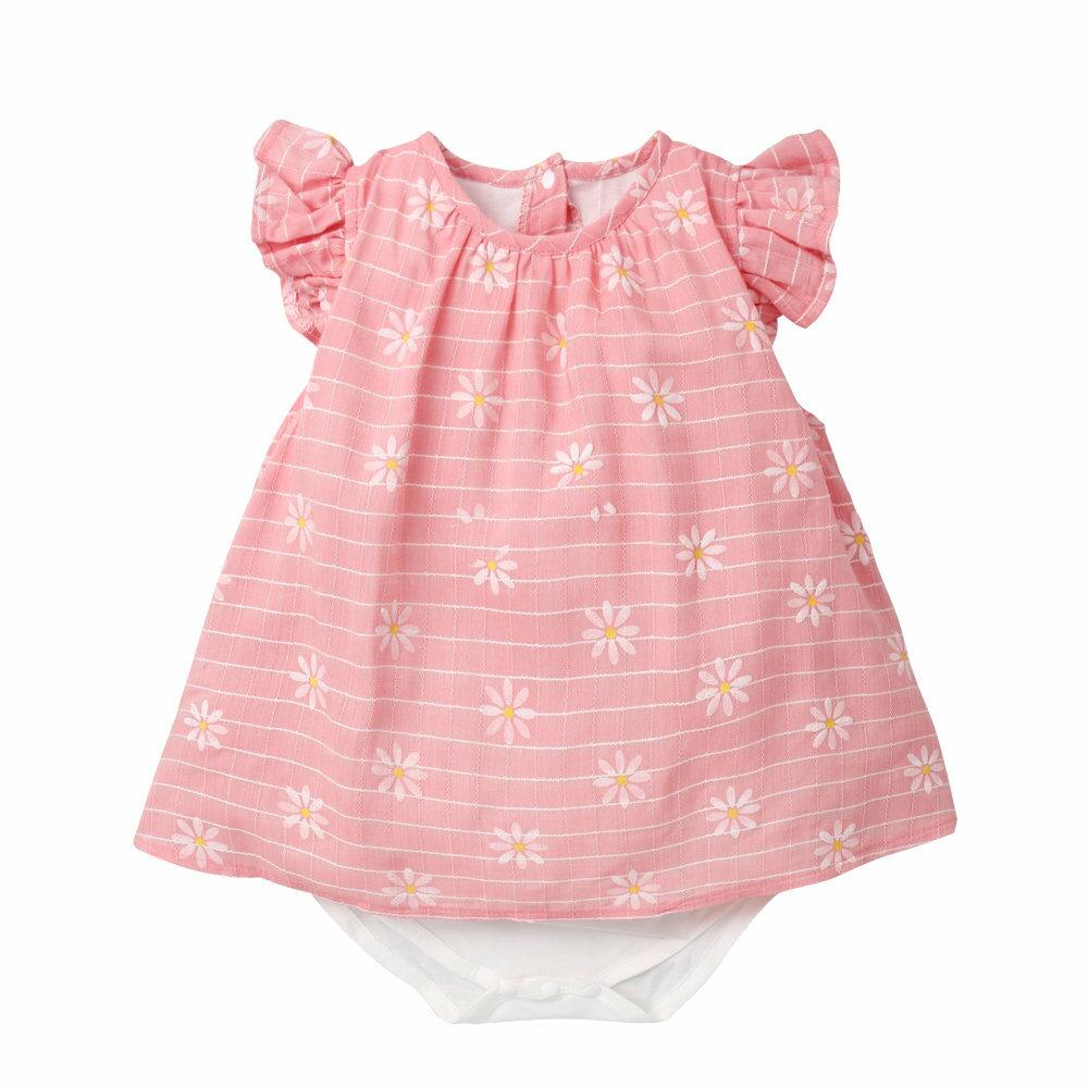 Augelute Baby 小碎花梭織格紋假兩件包屁裙 60184 3