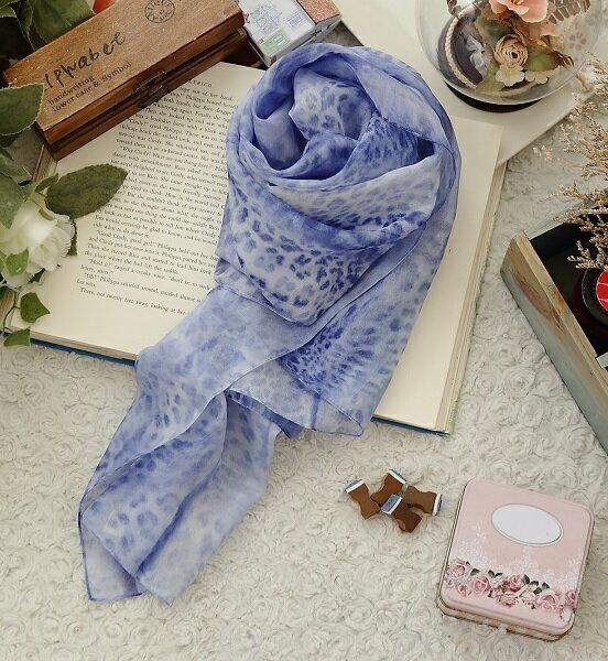 義大利進口絲巾-藍染豹紋
