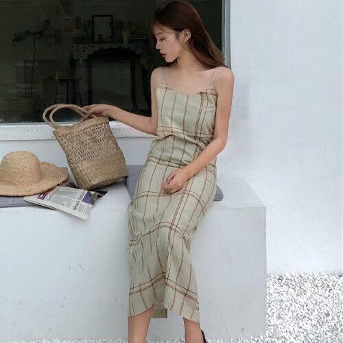 PS Mall 休閒格紋連身裙 細肩帶背心長版洋裝【T709】 0