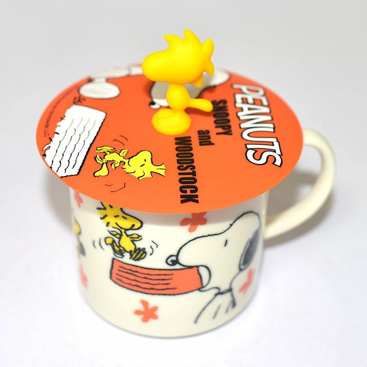 SNOOPY 史努比與黃色小鳥 Woodstock 陶瓷馬克杯 矽膠杯蓋 正版 日本製 310ml