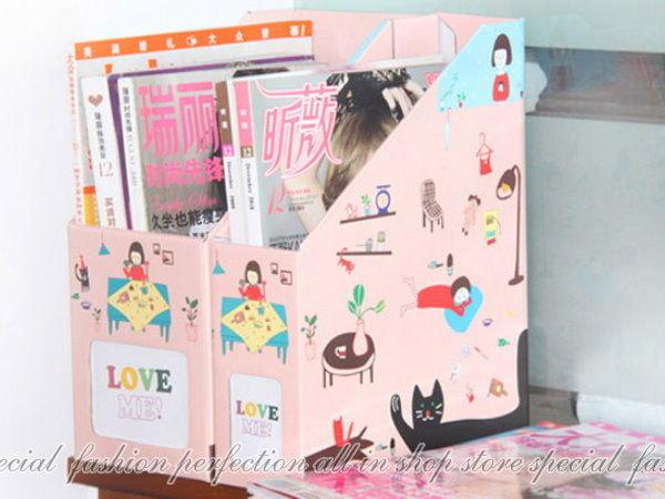 韓國小女孩『粉紅造型整理盒-小8.5cm寬』A4文件收納盒 書報整理收納【DK144】◎123便利屋◎