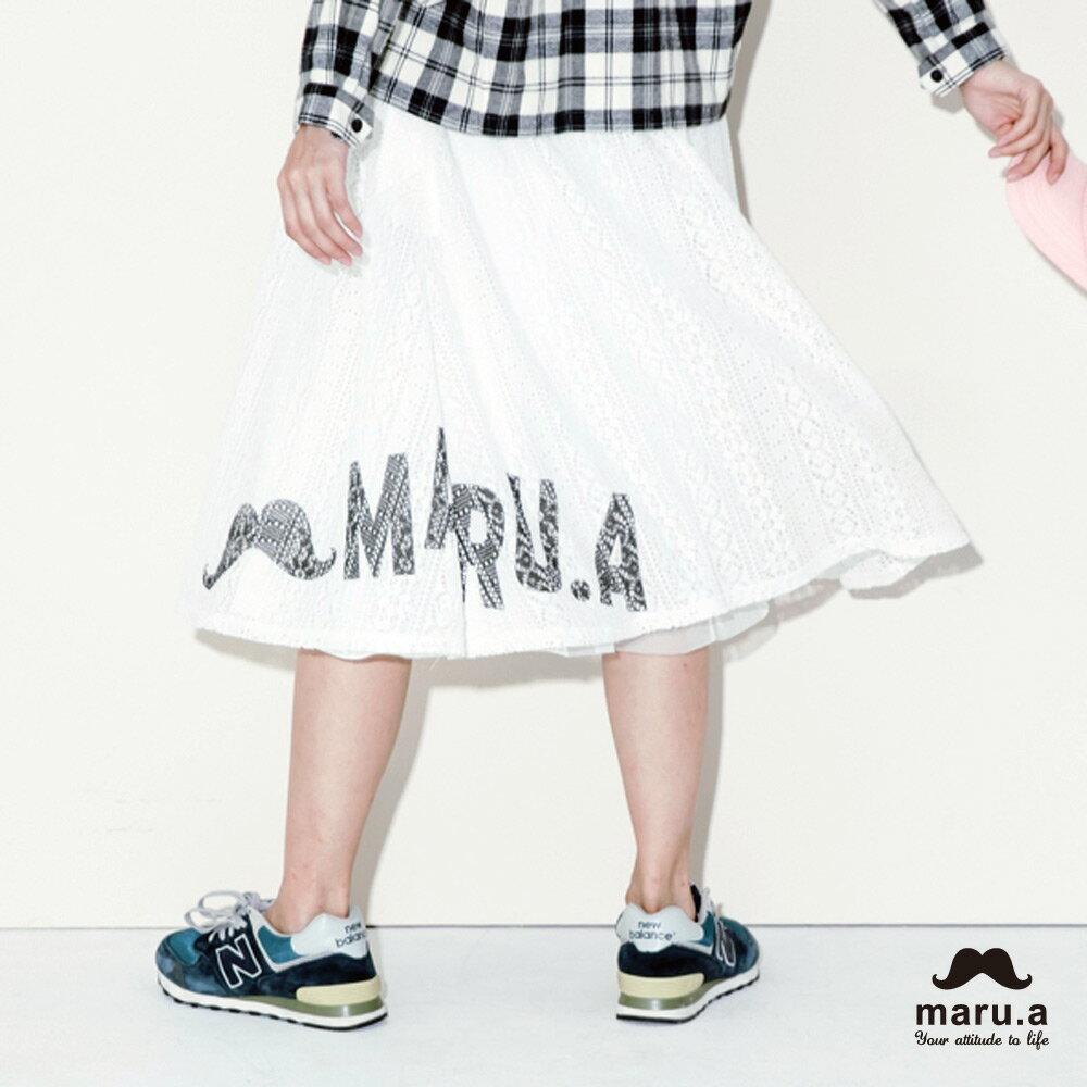 【maru.a】手繪LOGO印花布蕾絲長裙7926212 1