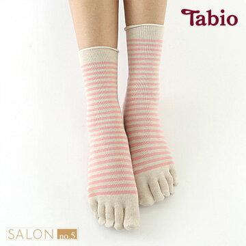 【靴下屋Tabi】休閒條紋五趾短襪