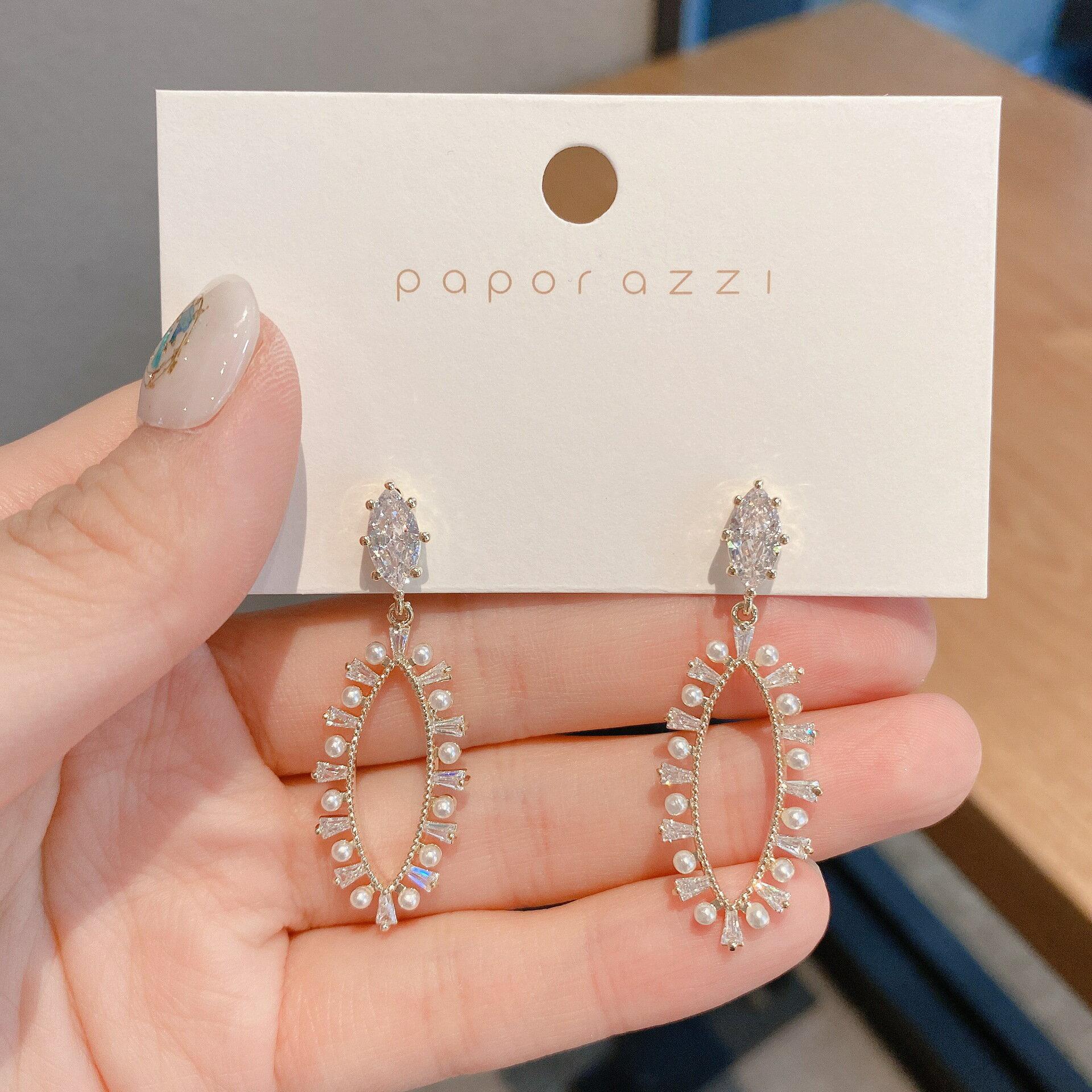 歐美個性幾何形鋯石長耳環INS同款珍珠銀針耳墜新娘奢華耳飾跨境