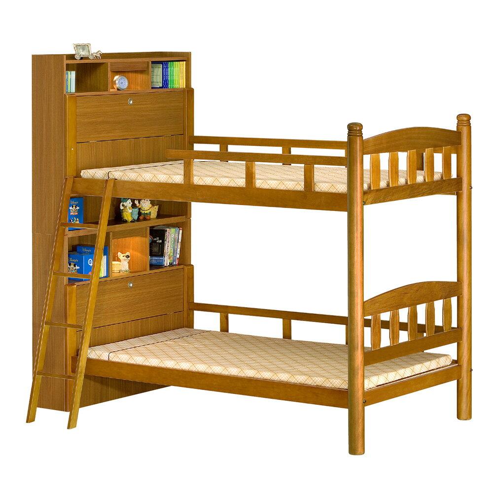 【全館現貨 下殺45折起】辛蒂柚色實木3.5尺側邊書架收納雙層床(不含床墊)專人組裝 上下舖 兒童床 台灣製 原森道