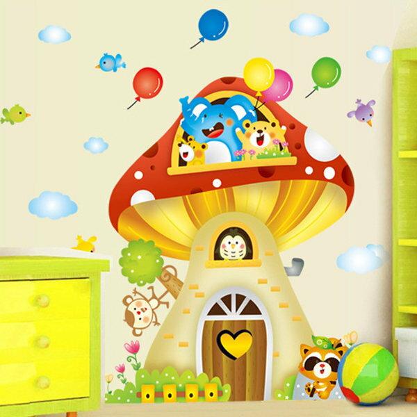 BO雜貨【YV0571】DIY可重複貼 時尚壁貼 牆貼壁紙 壁貼紙 創意璧貼 動物的家 蘑菇屋 AY 228 AB