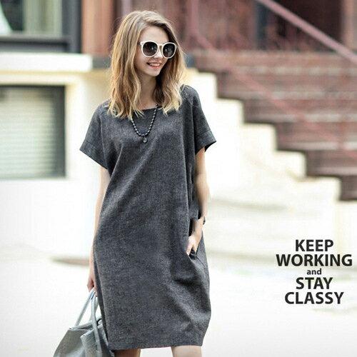 短洋裝 - 圓領簡約設計隱形口袋亞麻寬鬆連衣裙【29094】藍色巴黎-現貨+預購 2