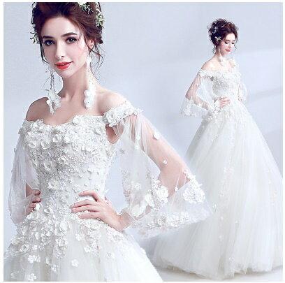 天使嫁衣【AE5810】一字領華麗立體花朵齊地婚紗禮服˙預購訂製款