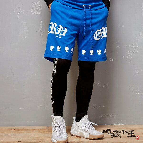 【限時5折】帥氣街頭風印花薄絨短褲(寶藍)-BLUEWAYJIZO地藏小王