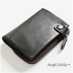 真皮短夾-義大利進口層牛皮橫款豎款男士皮夾  AngelNaNa【MA0258】