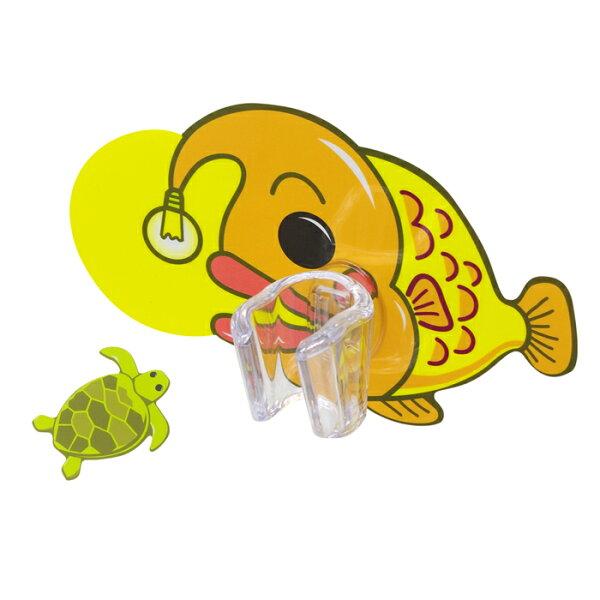 【黏樂趣NELO】多用途卡通造形蓮蓬頭座架重複貼掛勾組(燈籠魚)