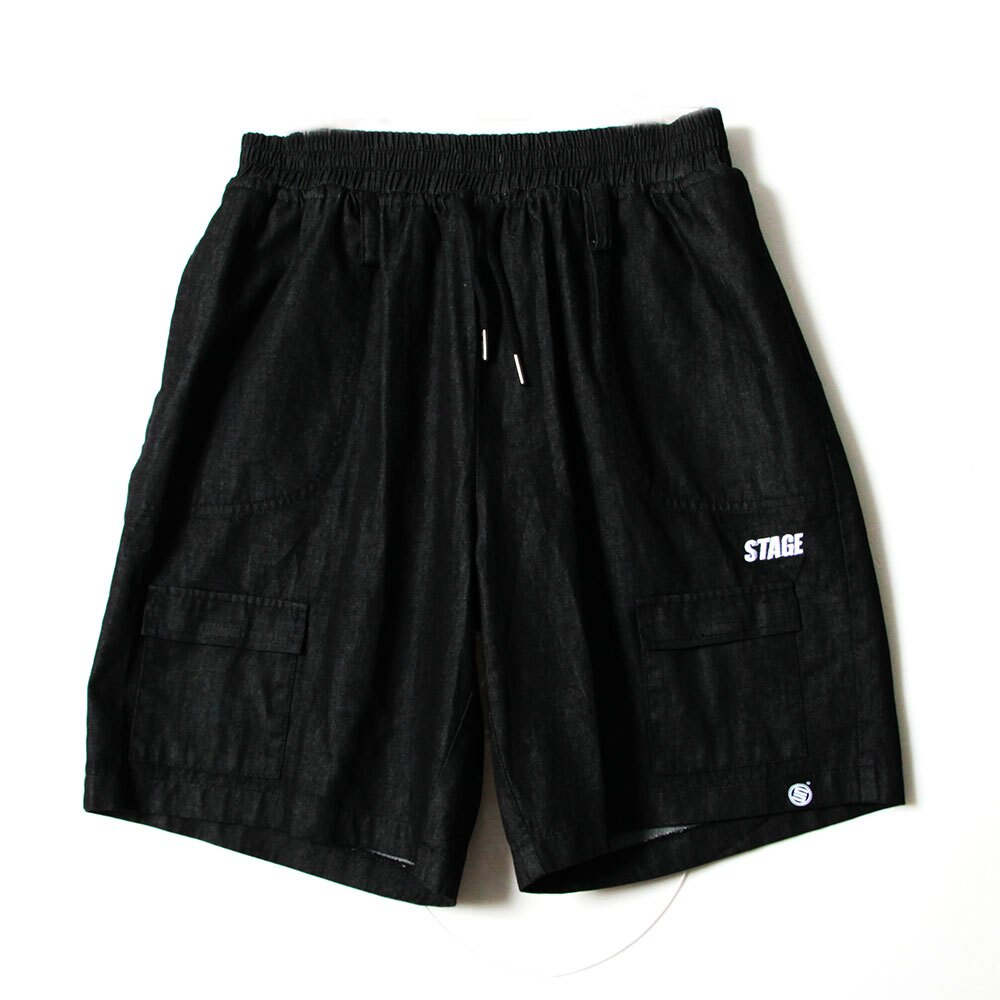 STAGE VITALITY WIDE DENIM SHORTS 黑色/中藍色 兩色 2