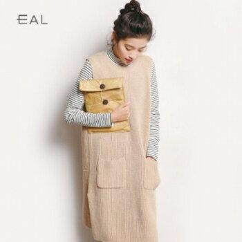 ~A‧G SHOP~KOREA 東大門   韓國中長款無袖毛衣針織連身裙