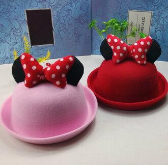 韓版兒童帽子女寶寶盆帽小女孩公主帽禮帽毛呢帽子女童-點點蝴蝶結耳朵款