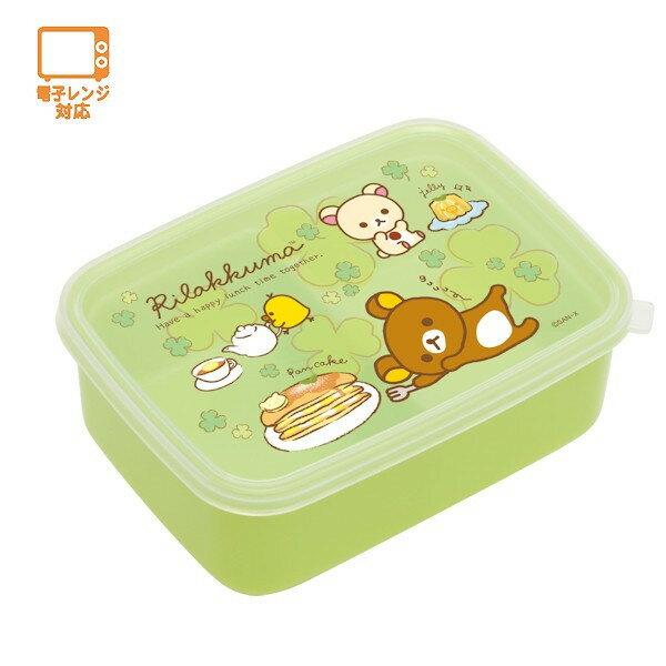 【真愛日本】4974413677271 分格便當盒-懶熊幸運草綠   SAN-X 懶懶熊 拉拉熊 便當盒 餐盒
