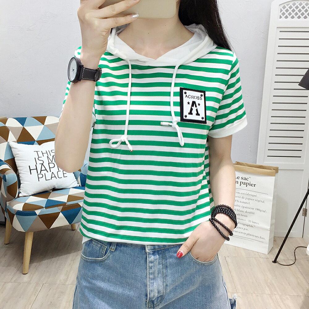 韓版純棉條紋百搭連帽短袖T恤(2色M~2XL)【OREAD】 2