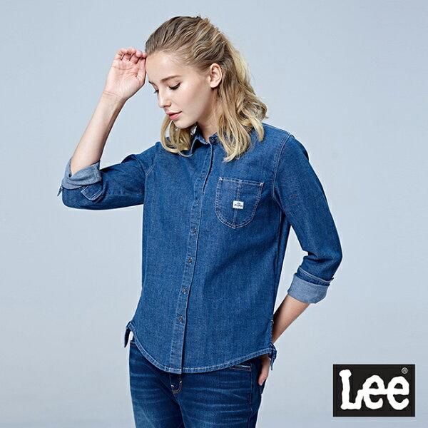 Lee側邊綁帶牛仔長袖襯衫RG-中藍色