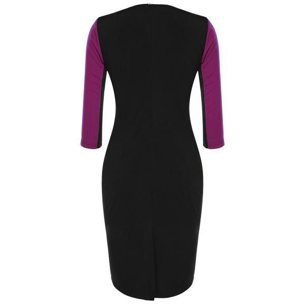 Women Bodycon Slim Patchwork Zipper Elegant Dress 4