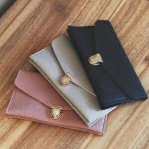 美麗大街【PCY01220009】新款PU皮信封錢包韓版中長款1折零錢包鎖扣時尚女士錢夾