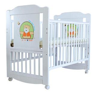 【美國 L.A. Baby】布魯克林三階段嬰兒木床/成長大床/童床-白色(0歲-10歲幼童皆適用)(贈全罩式蚊帳)