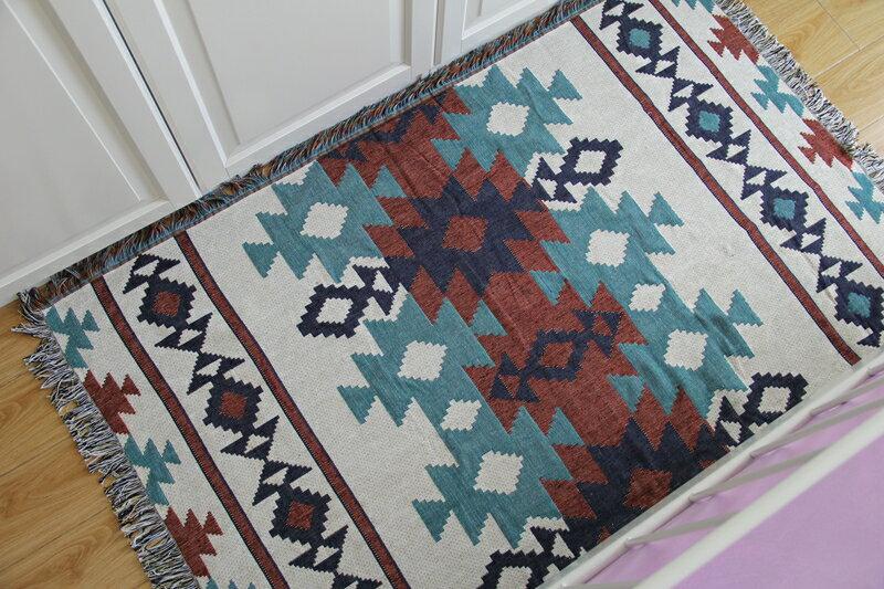 美式鄉村波西米亞民族風印地安線毯針織地毯休閒蓋毯沙發巾沙發毯復古/單售